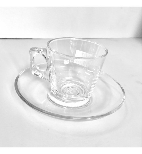 Barista Espresso Pasabahce Glass 4pc set with saucers