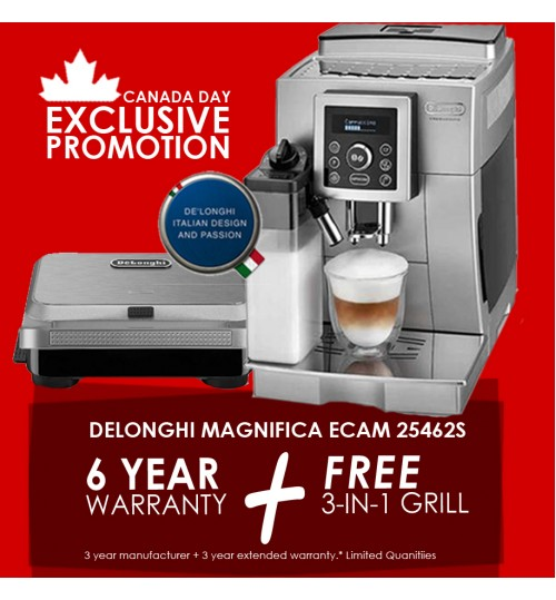 DELONGHI - Magnifica S ECAM  [CANADA DAY PROMO 6 YEAR WARRANTY + FREE GRILL]  25.462.S Digital Super Automatic with Latte Crema System