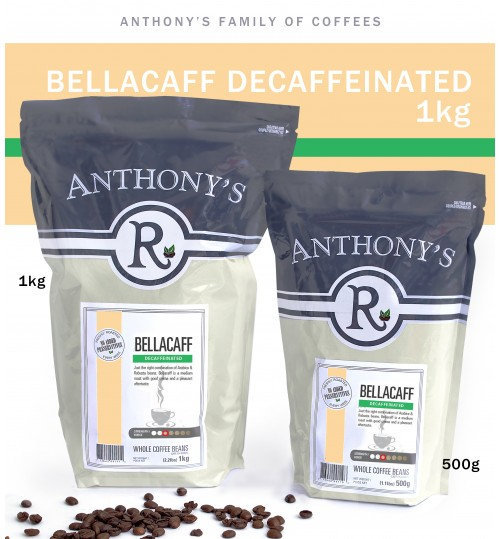 ANTHONY'S - Bellacaff DECAFFEINATED 1kg Beans