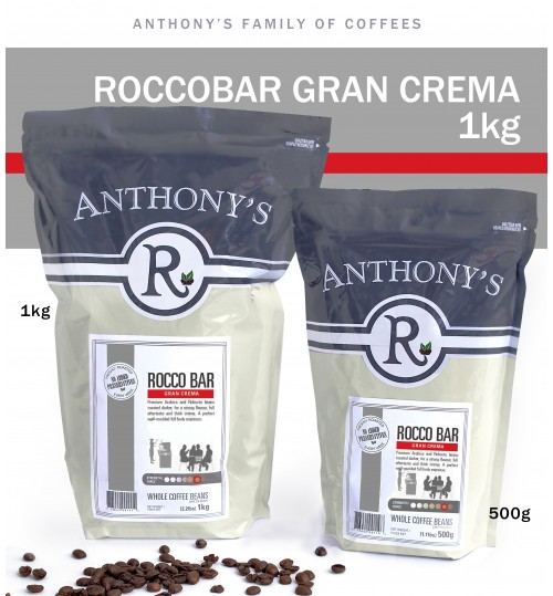 ANTHONY'S - Rocco Bar Gran Crema 1kg Whole Beans  [ROASTED FRESH EVERY WEEK]