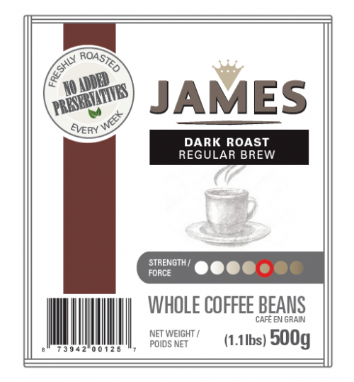 ANTHONY'S - James Dark Roast 500g [REGULAR DRIP WHOLE BEAN]