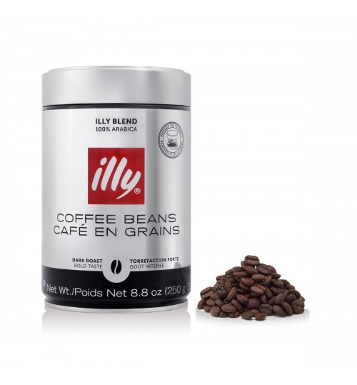 ILLY - Dark Roast Whole Coffee Beans - 250g Tin