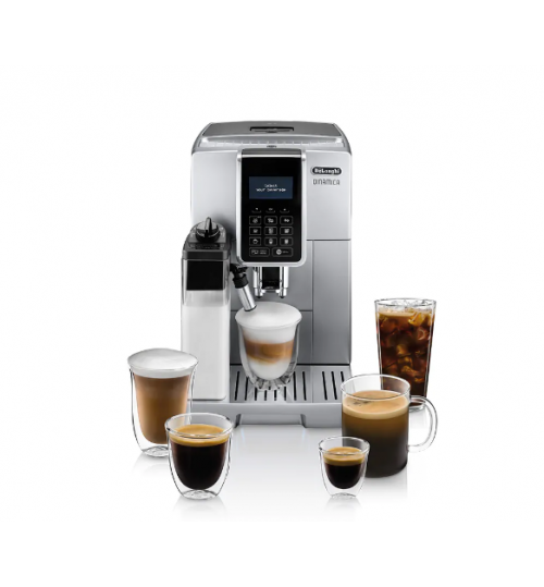 DELONGHI - Dinamica CAPPUCCINO [BACK IN STOCK] with LatteCrema [6 YEAR WARRANTY + FREE SET OF 2 LATTE GLASSES] Automatic Cappuccino, Espresso  Silver - ECAM35075SI