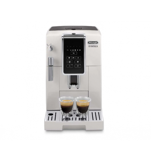 DELONGHI - Dinamica WHITE [BACK IN STOCK + FREE LATTE CUPS & BAG OF COFFEE]]  Automatic Coffee & Espresso Machine with TrueBrew Over Ice, White - ECAM35020W