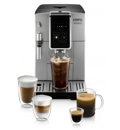 DELONGHI - Dinamica SILVER [BACK IN STOCK+ FREE LATTE CUPS & BAG OF COFFEE] Automatic Coffee & Espresso Machine with Iced Coffee, TrueBrew Over Ice + Premium Frother - ECAM35025SB