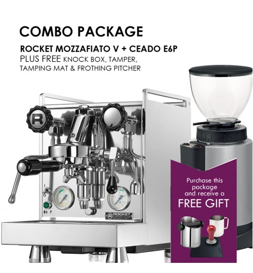 *COMBO PACKAGE* Rocket Mozzafiato Cronometro V  PID & Ceado E6P PLUS FREE GIFT Tamper, Knock Box, Tamping Mat & Frothing Pitcher.
