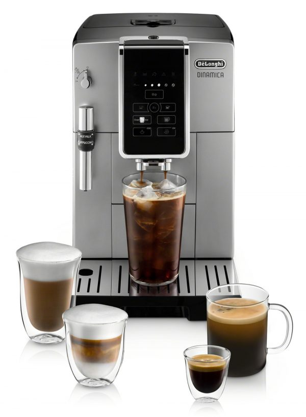 DELONGHI - Dinamica SILVER [3 YEAR WARRANTY] Automatic Coffee & Espresso Machine with Iced Coffee, TrueBrew Over Ice + Premium Frother - ECAM35025SB