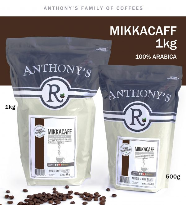 ANTHONY'S - Mikkacaff 1kg Whole Beans 100% Arabica