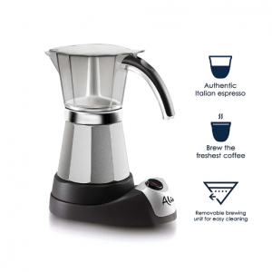 DELONGHI - Alicia Electric Moka Pot Coffee Maker for Authentic Italian Espresso, 6 Cups - EMK6